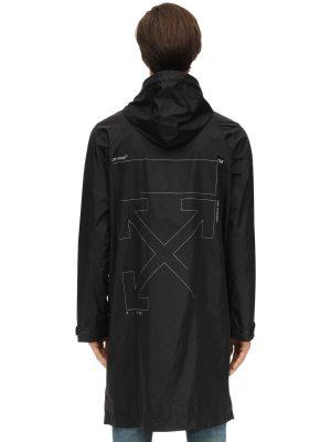 Unfinished Print Techno Rain Coat