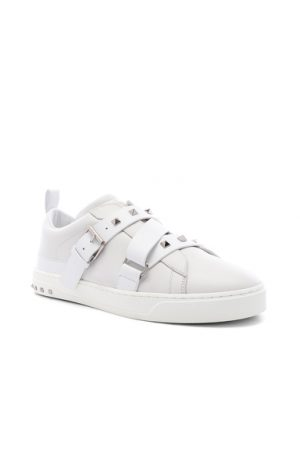 Valentino Studded Leather Strap Sneaker in White