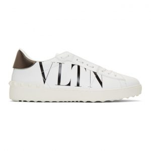 Valentino White and Black Valentino Garavani VLTN Open Sneakers