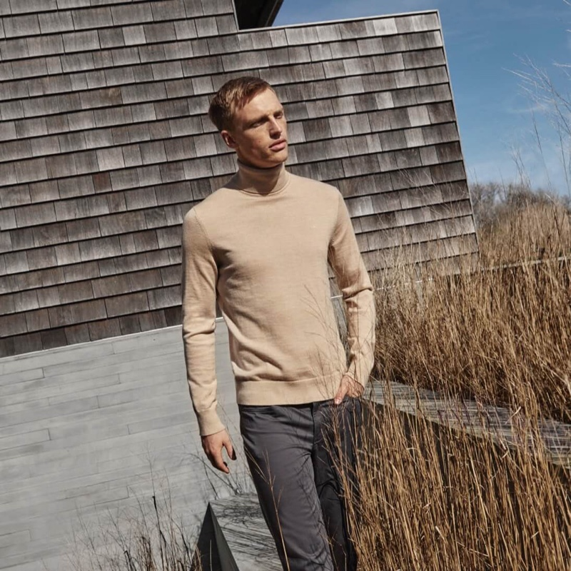Top model Victor Nylander sports chic neutrals for Calvin Klein's fall-winter 2019 campaign.