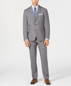 Vince Camuto Men's Slim-Fit Stretch Gray Textured Solid Wool Suit
