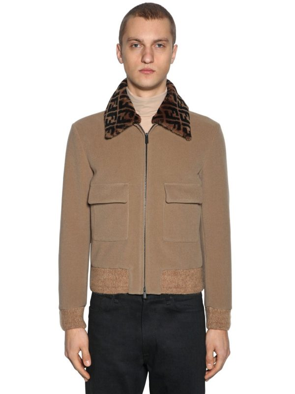 Wool Bomber Jacket W/logo Fur Collar