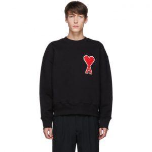 AMI Alexandre Mattiussi Black Ami De Coeur Patch Sweatshirt