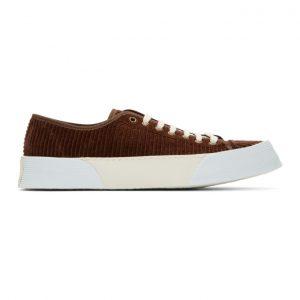 AMI Alexandre Mattiussi Brown Corduroy Vulcanized Sneakers