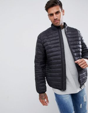 ASOS DESIGN quilted jacket with funnel neck in black