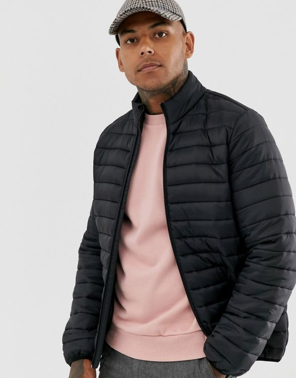 ASOS DESIGN quilted jacket with stand collar in black
