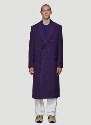 Acne Studios Double-Breasted Herringbone Coat in Purple size IT - 50