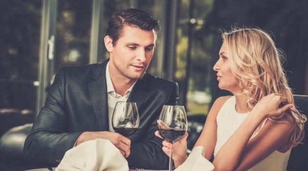 Attractive Couple Date Wine Man Suit