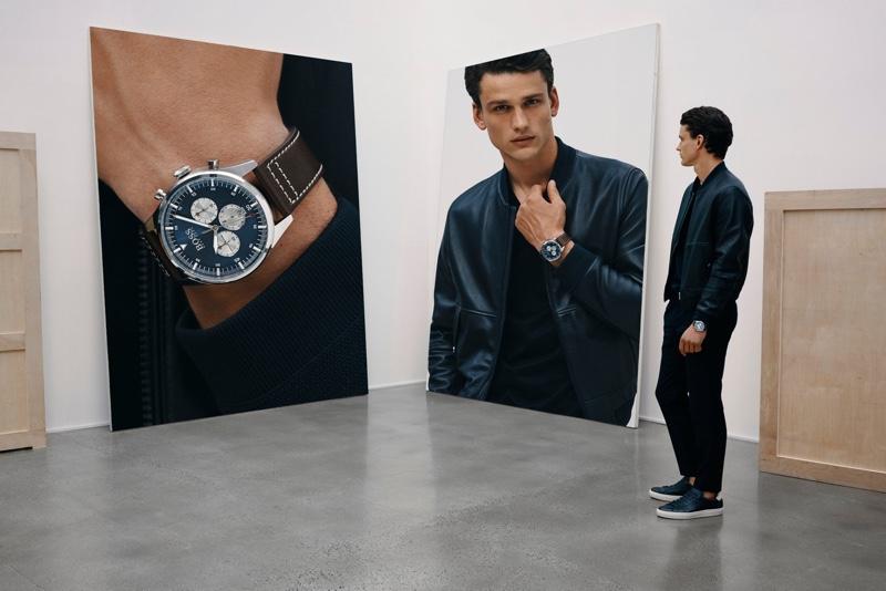 Simon Nessman stars in BOSS' fall-winter 2019 watches campaign.