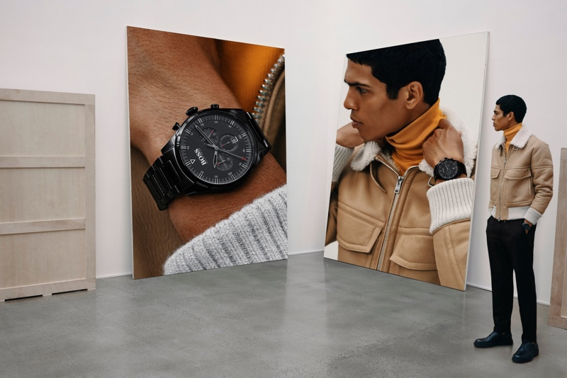 Geron McKinley fronts BOSS' fall-winter 2019 watches campaign.