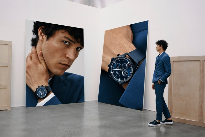 Miles McMillan appears in BOSS' fall-winter 2019 watches campaign.