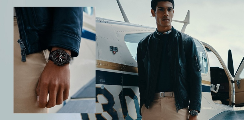 Embracing aviation-inspired style, Geron McKinley dons BOSS' Aero watch.
