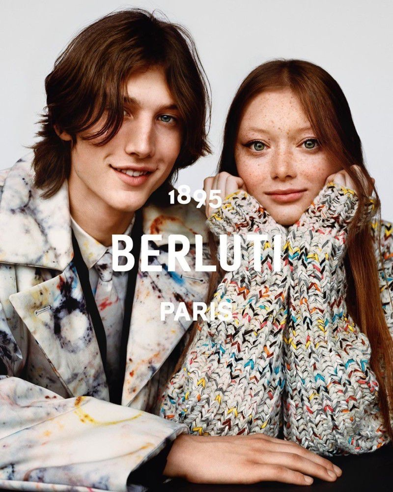 All smiles, Wellington Grant and Sara Grace Wallerstedt charm as the stars of Berluti's fall-winter 2019 campaign.