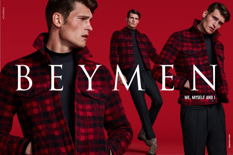British model John Todd wears a red and black check jacket for Beymen's fall-winter 2019 campaign.