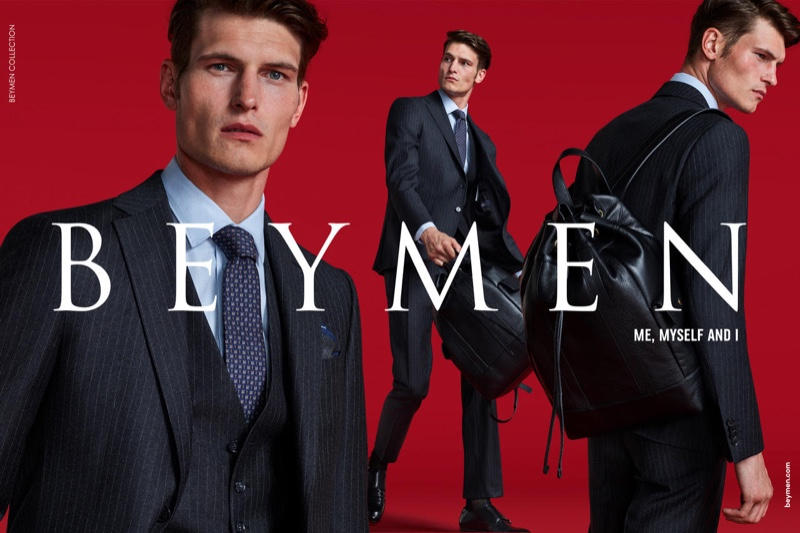 Dressed to impress, John Todd wears a pinstripe three-piece suit for Beymen's fall-winter 2019 campaign.