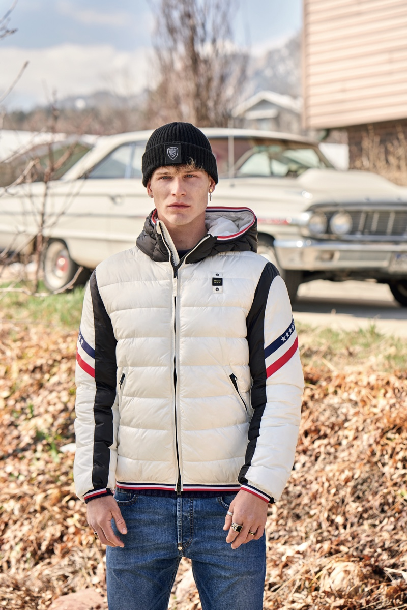 Blauer USA takes to Boulder, Colorado to present its latest installment of 'American Portraits.' A stylish youth sports the label's bicolor Gill nylon down jacket.