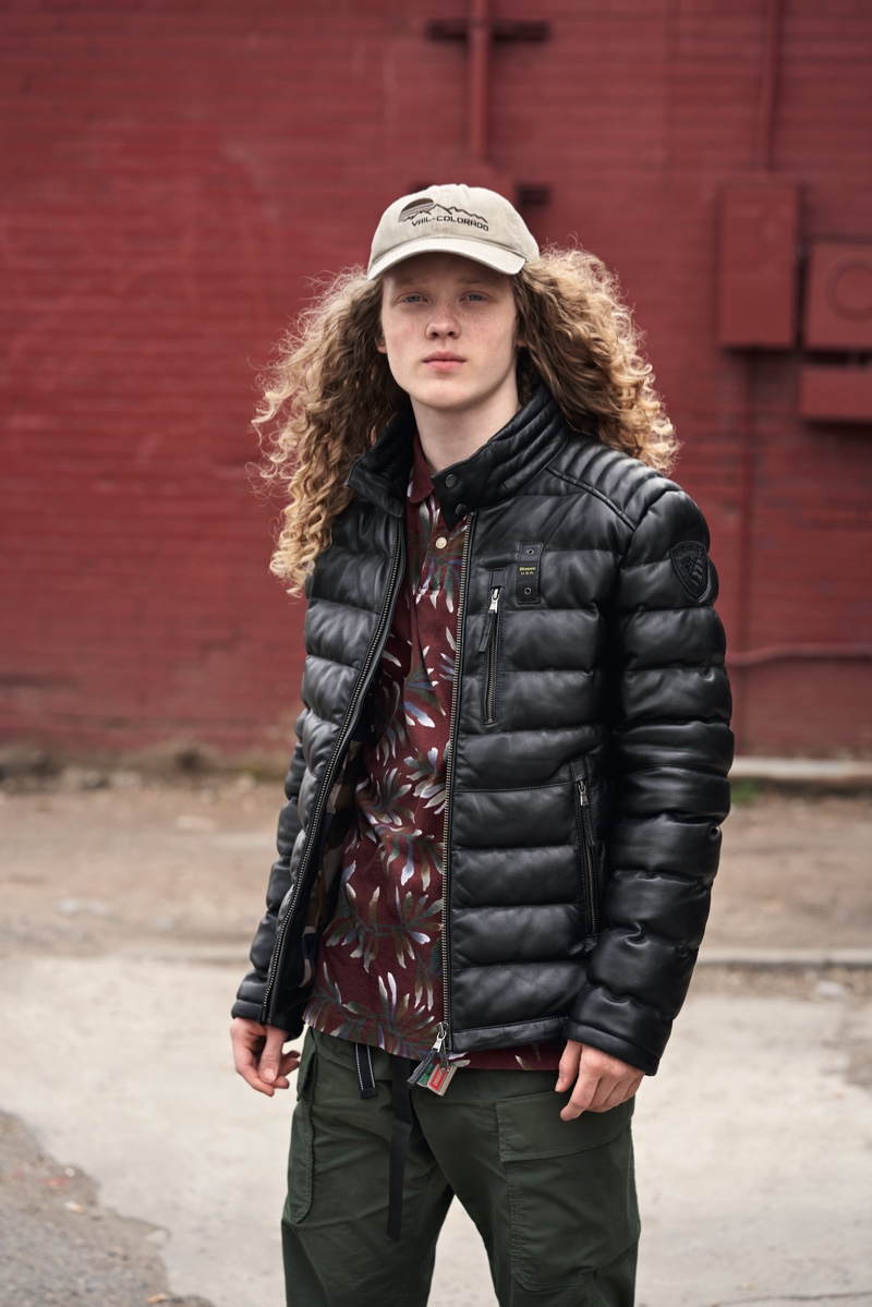 Exploring Colorado with locals, Blauer USA is road trip ready with its Hughes padded leather jacket.