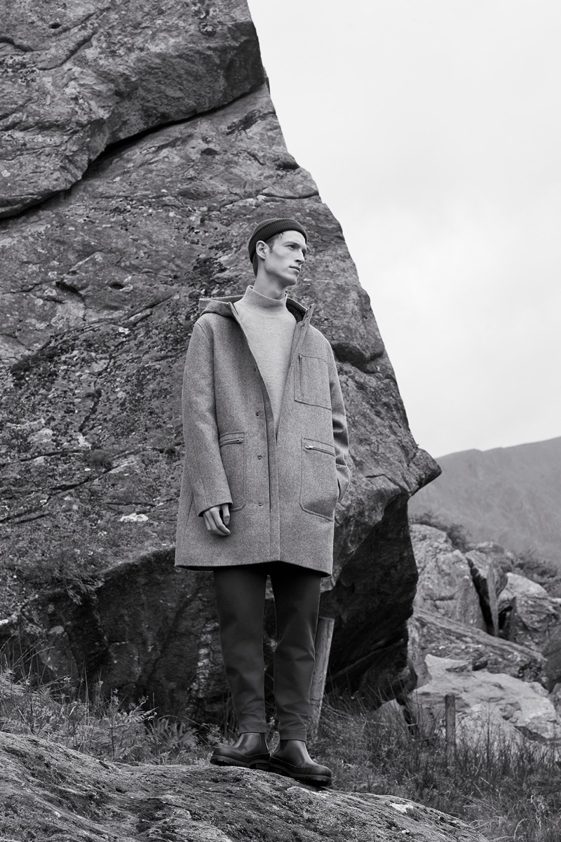 A chic vision, Model Egon Van Praet dons an oversized coat by COS.