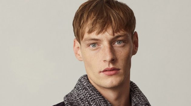 Roberto Sipos sports a corduroy shirt with a high-neck mock collar from COS.