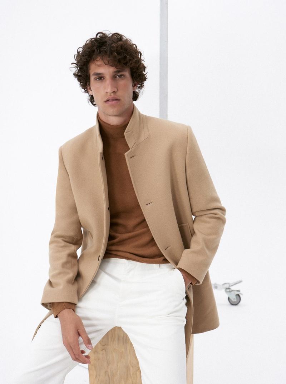 Model Francisco Henriques sports Club Monaco's Loukas coat $398.