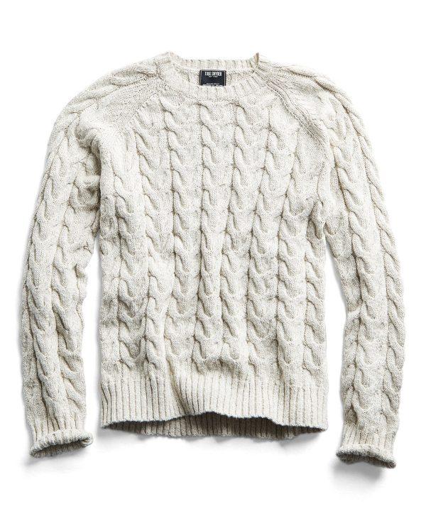 Cotton Cable Crewneck Sweater in Cream