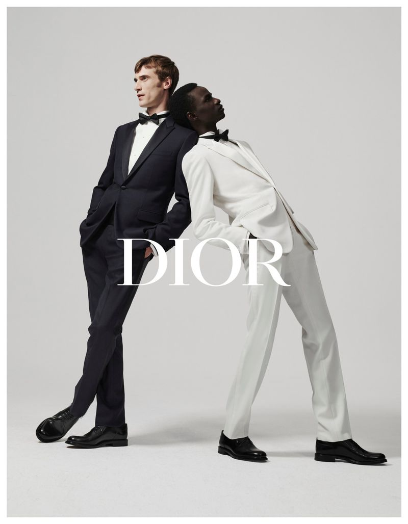 Clément Chabernaud and Malick Bodian front Dior Men's fall-winter 2019 tailoring campaign.
