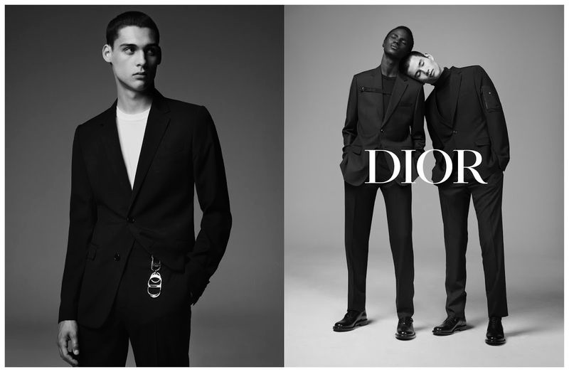 Models Ludwig Wilsdorff, Malick Bodian, and Kohei Takabatake star in Dior Men's fall-winter 2019 tailoring campaign.