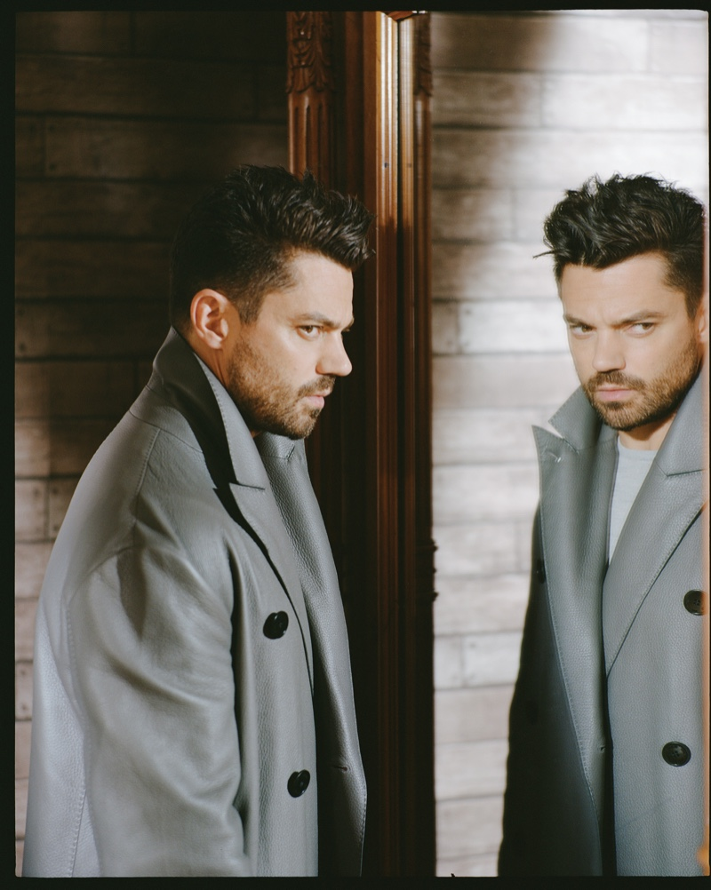 Connecting with The Laterals, Dominic Cooper dons a leather coat by Berluti with a Sunspel sweater.