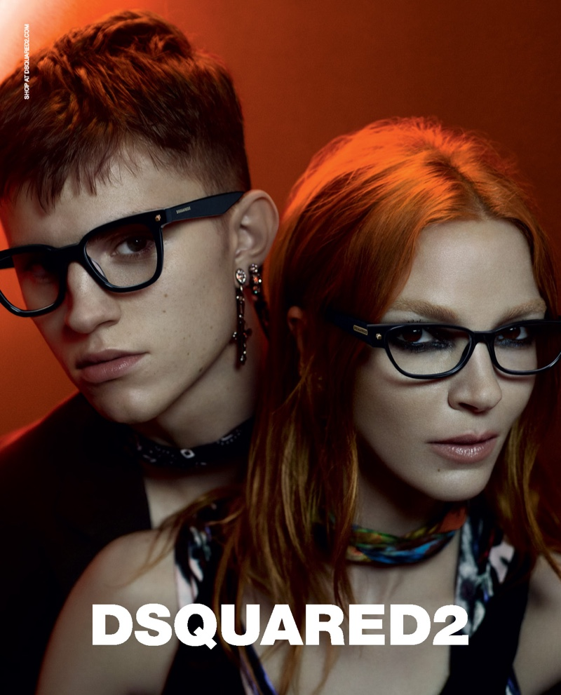 Andreas Wolf and Mariacarla Boscono front Dsquared2's fall-winter 2019 eyewear campaign.