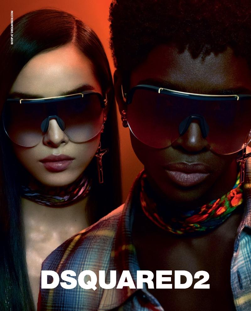 Fei Fei Sun and Alton Mason star in Dsquared2's fall-winter 2019 eyewear campaign.