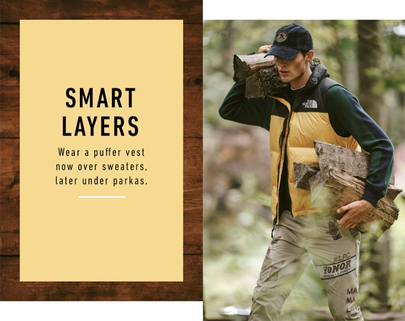 Embracing workwear-inspired style, Rocky Harwood wears a POLO Ralph Lauren sweater, cap, and khaki pants with a vest by The North Face.