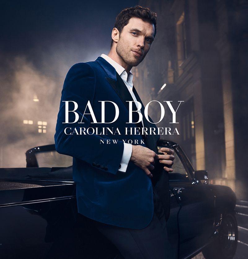 Ed Skrein stars in the fragrance campaign for Carolina Herrera Bad Boy.