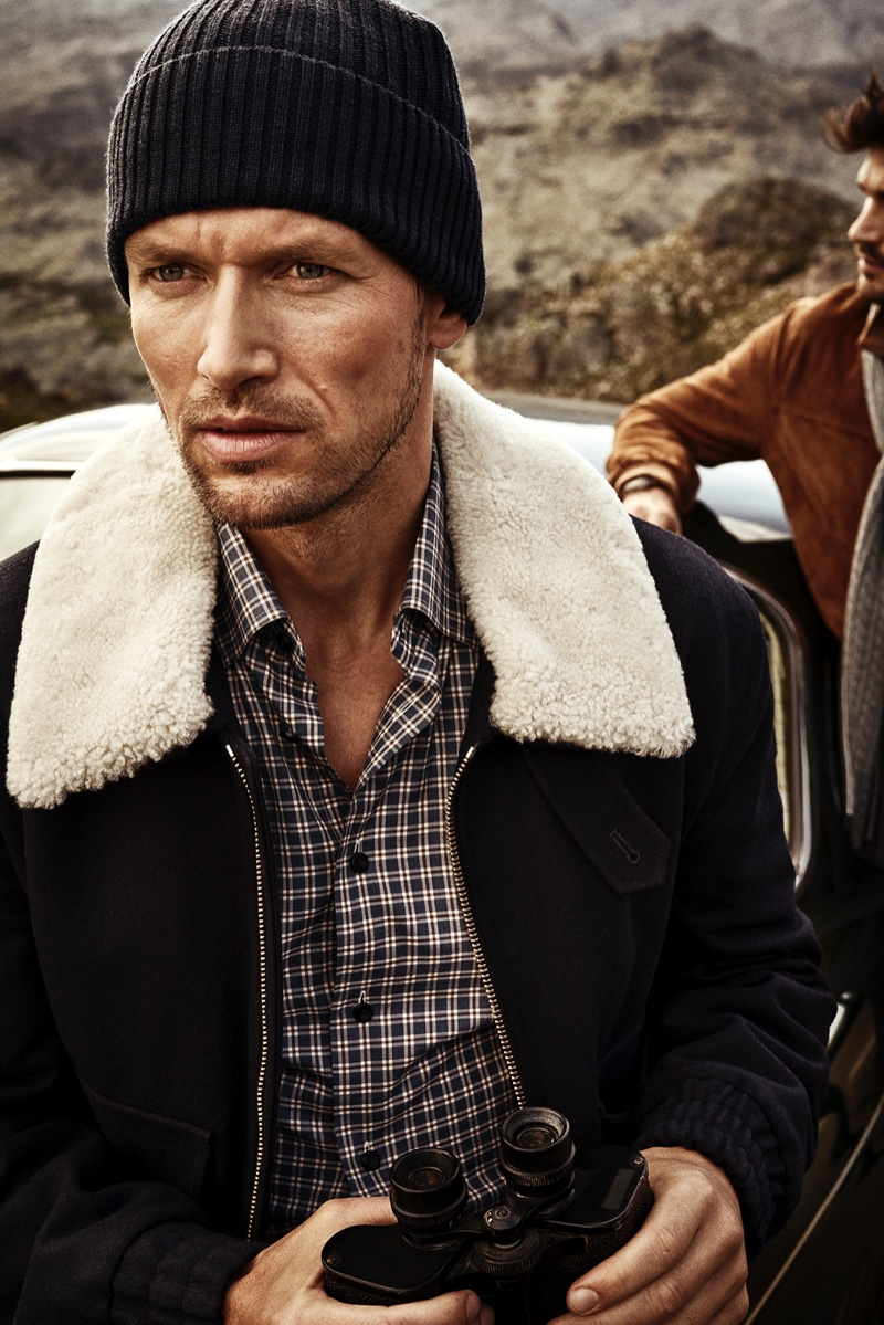 Robertas Aukstuolis sports a shirt and knit beanie from Eton's fall-winter 2019 collection.