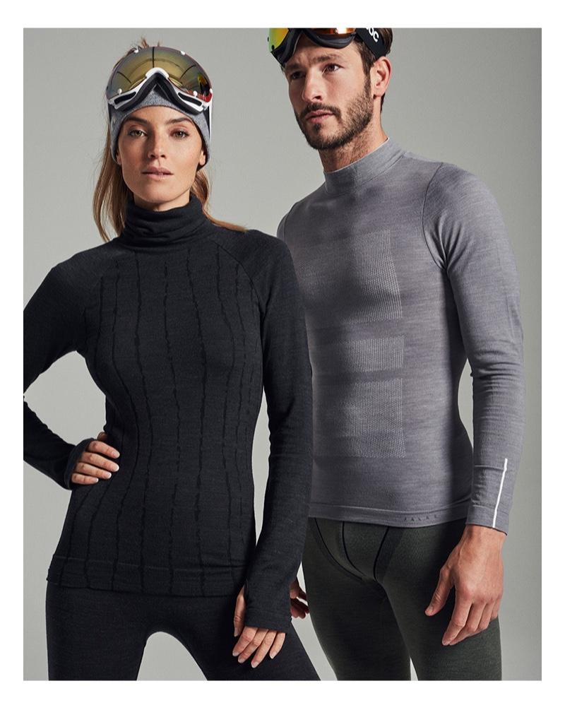 Aida Artiles and Parker Gregory wear Falke Sport.