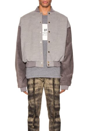 Fear of God 6th Collection Varsity Jacket in Gray