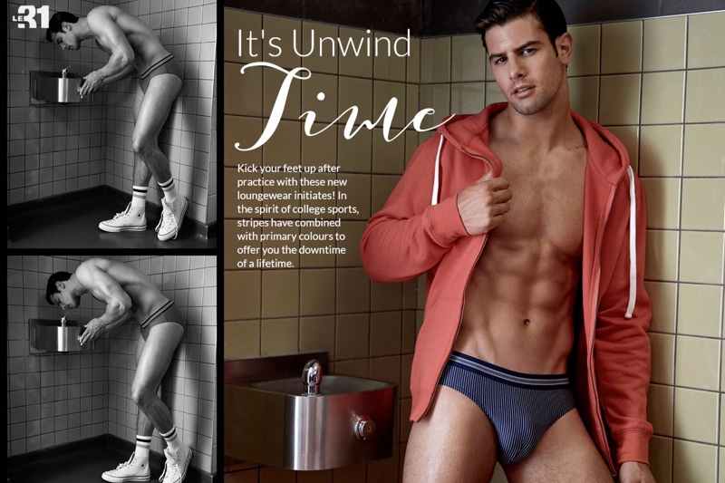Sporty LE 31, Franky Cammarata connects with Simons to showcase underwear for the season.