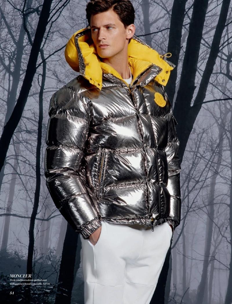 Model Garrett Neff makes a splashy statement in Moncler.