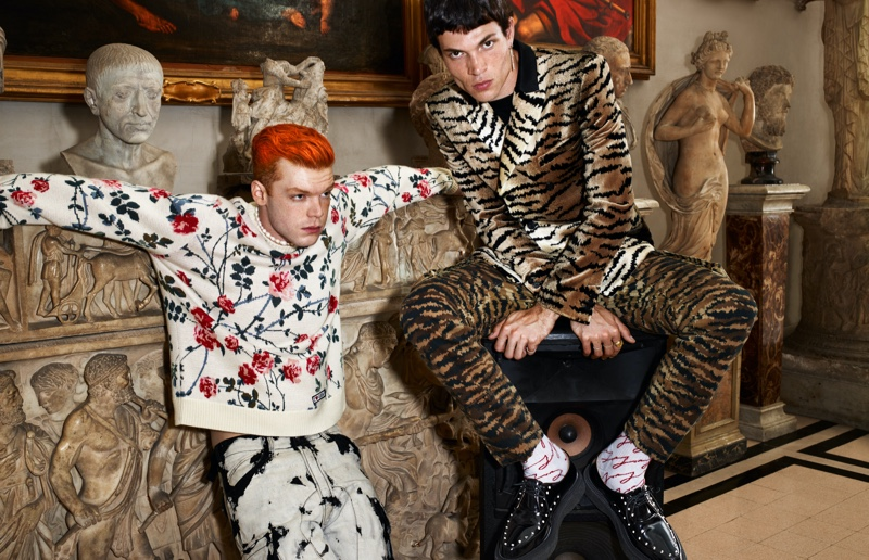 Cameron Monaghan and Luka Isaac star in the Giambattista Valli x H&M campaign.