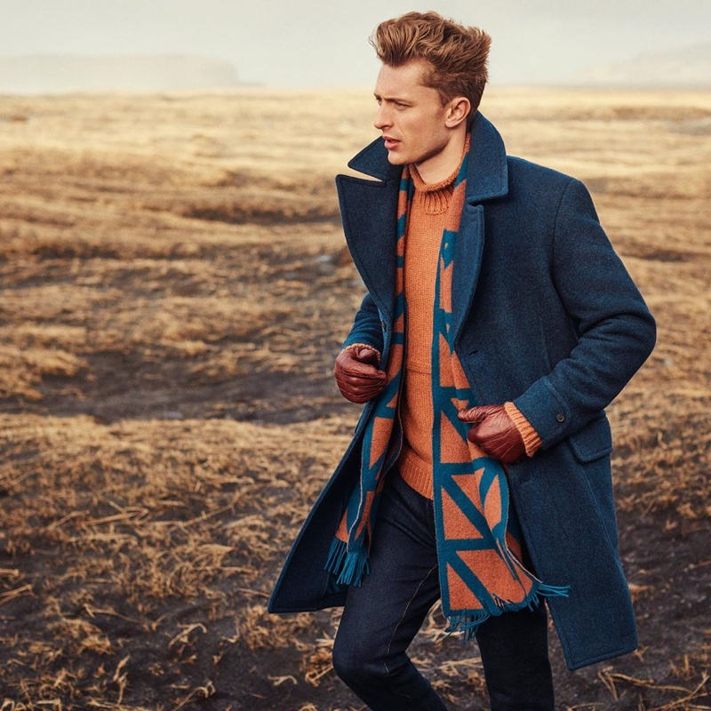 British model Max Rendell links up with Gieves & Hawkes for its fall-winter 2019 campaign.