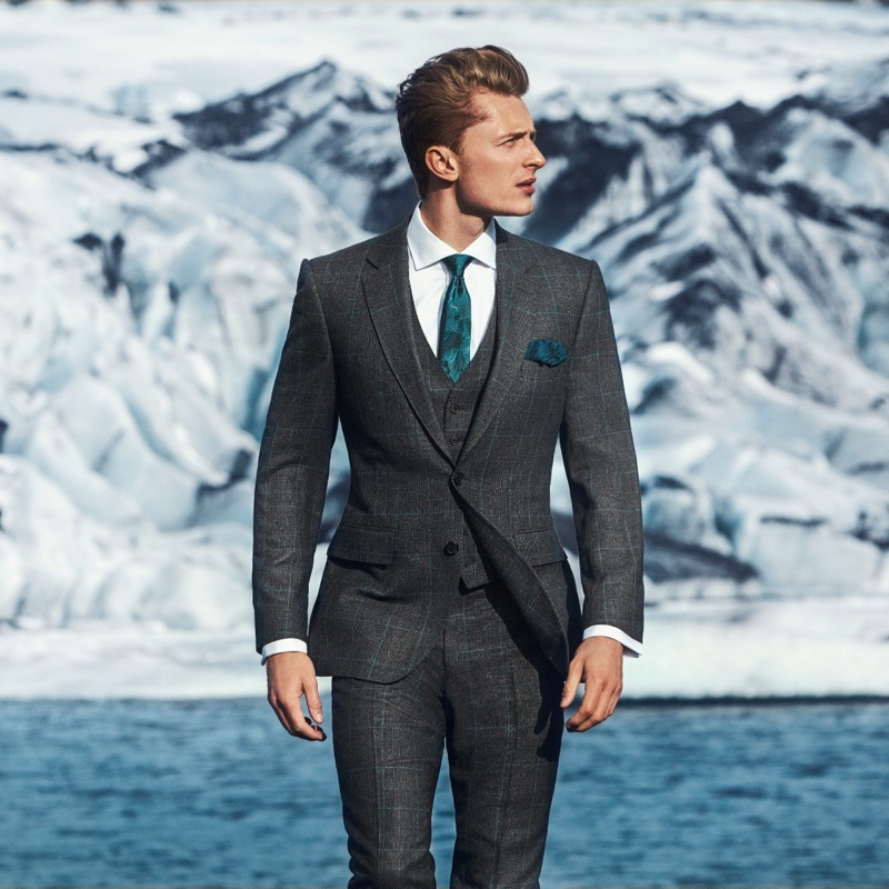A sharp vision, Max Rendell appears in Gieves & Hawkes' fall-winter 2019 campaign.