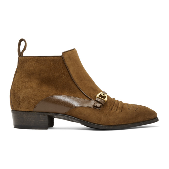 Gucci Brown Suede Ankle Boots   The