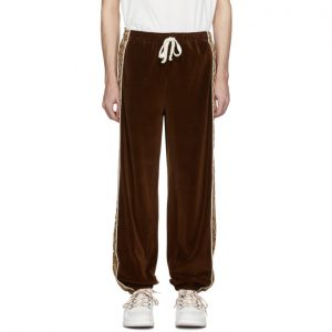Gucci Brown and Beige G Rhombus Velvet Track Pants