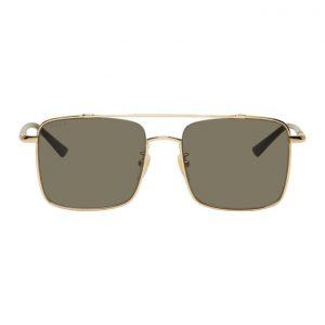 Gucci Gold Metal Square Double Bridge Sunglasses