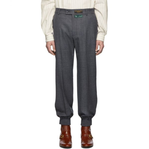 Gucci Grey Sharkskin Classic Trousers