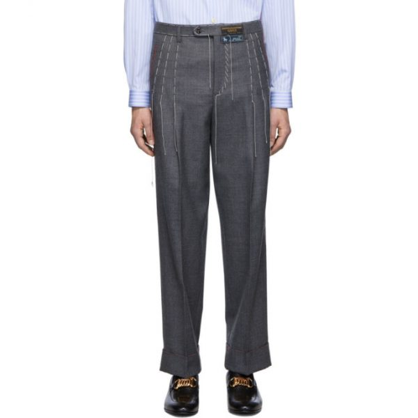 Gucci Grey Wool Stitching Trousers
