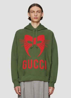 Gucci Manifesto Hooded Sweatshirt in Green size XS
