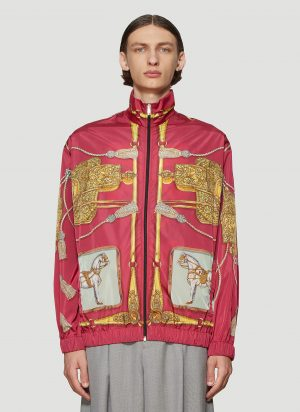 Gucci Oversized Printed Bomber Jacket in Red size S