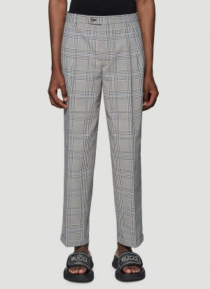 Gucci Prince of Wales Check Pants in Grey size IT - 46