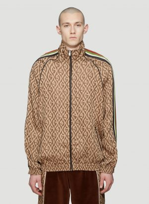 Gucci Rhombus Logo-Jacquard Track Jacket in Brown size S