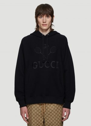 Gucci Tennis Logo Hooded Sweatshirt in Black size XL